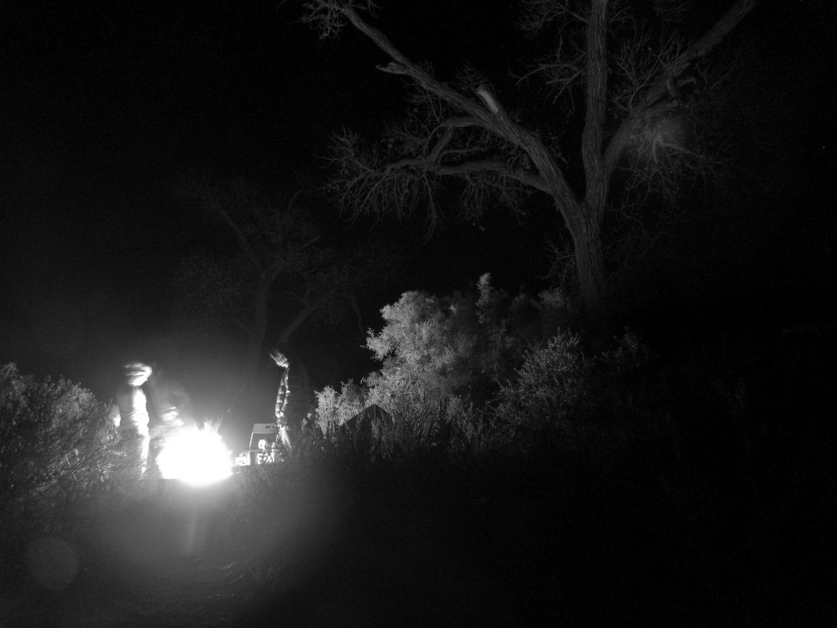 Campfire lit campground