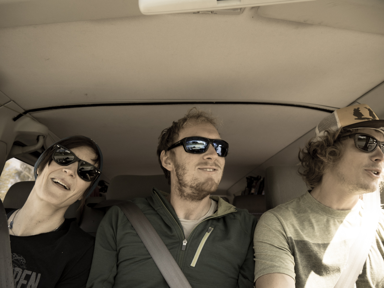 Matt, Andrea, and Martin in the car.