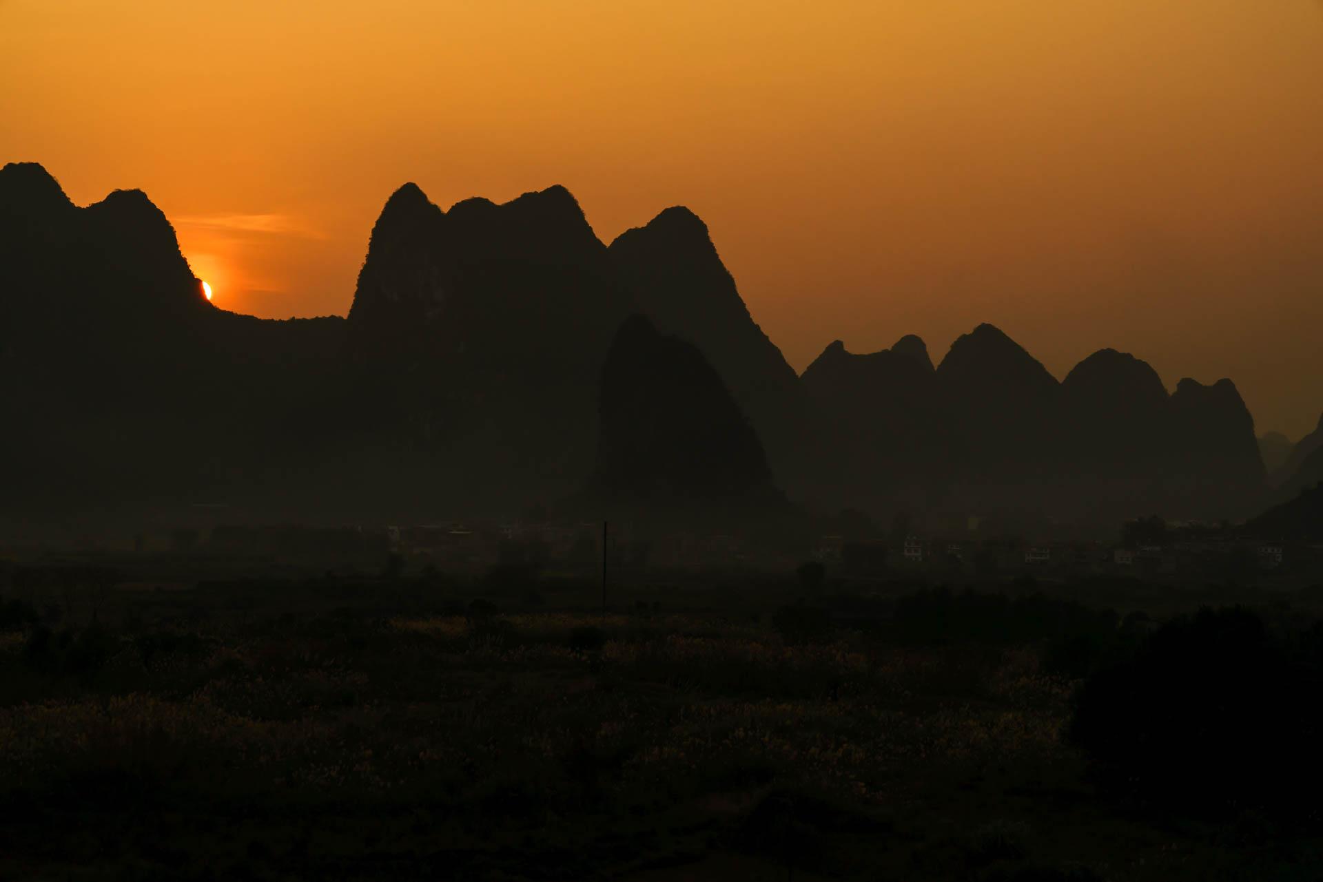 white mountain sunset